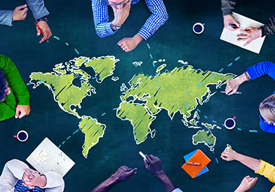 world map on meeting room table