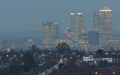 Canary Wharf skyline at dusk